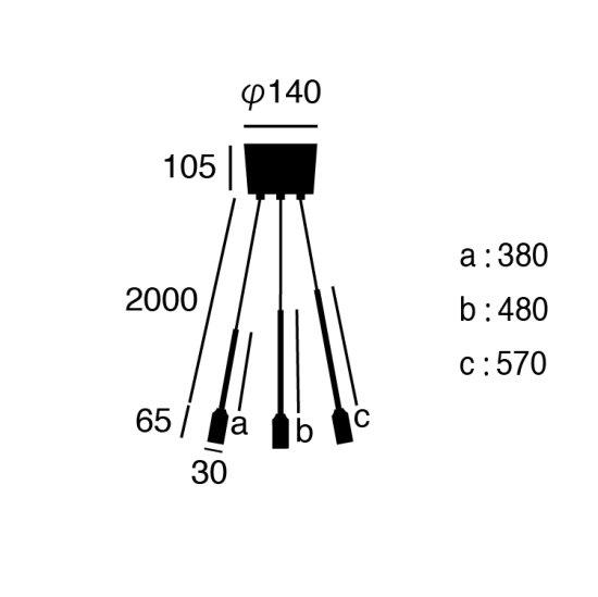 デザイン照明「Barcelona」3灯(Φ300×H570mm)