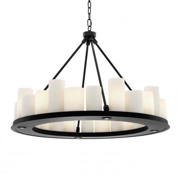 【EICHHOLTZ】デザイン照明キャンドルシャンデリア「COMMODORE」24灯・ブラック(φ900×H650mm)
