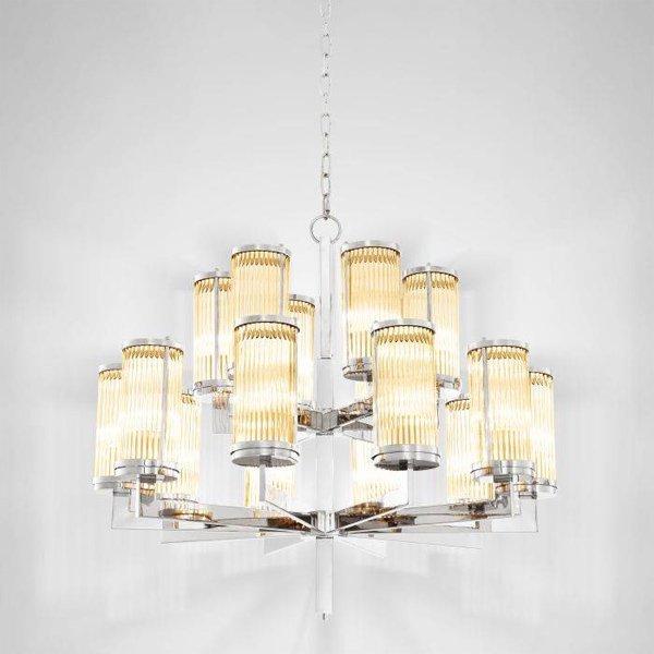【EICHHOLTZ】デザイン照明ガラスシェードシャンデリア「CLARIDGES」16灯・クローム(φ755×H730mm)