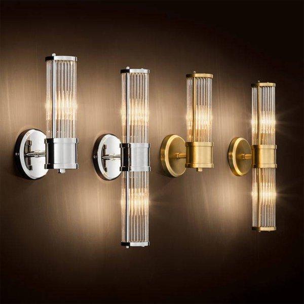【EICHHOLTZ】デザイン照明ガラスシェードウォールランプ「CLARIDGES」2灯・クローム(W120×H465mm)