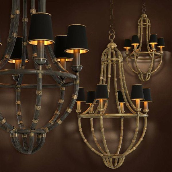 【EICHHOLTZ】デザイン照明シェードシャンデリア「MOREAUX S」6灯(φ440×H900mm)