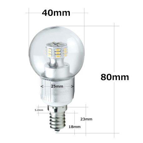 【LED電球】ボール球E12口金 30W相当 調光器対応 3W 昼白色5000k