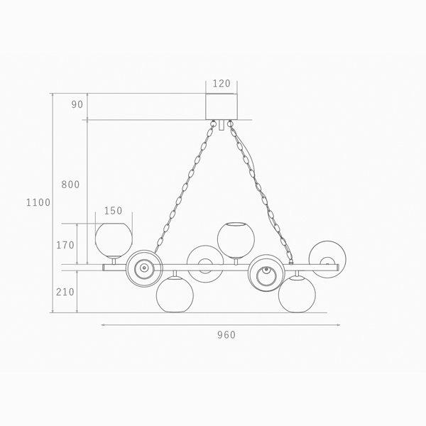 【HERMOSA】ペンダントライト「BIARRITZ 8」8灯・ブラック&コッパー(W960×H1100mm)