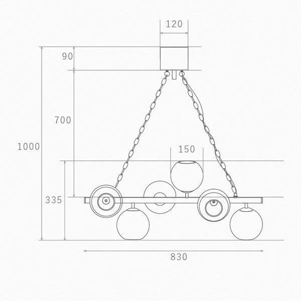 【4台在庫有!】 【HERMOSA】ペンダントライト「BIARRITZ 8」6灯・ブラック(W830×H1000mm)