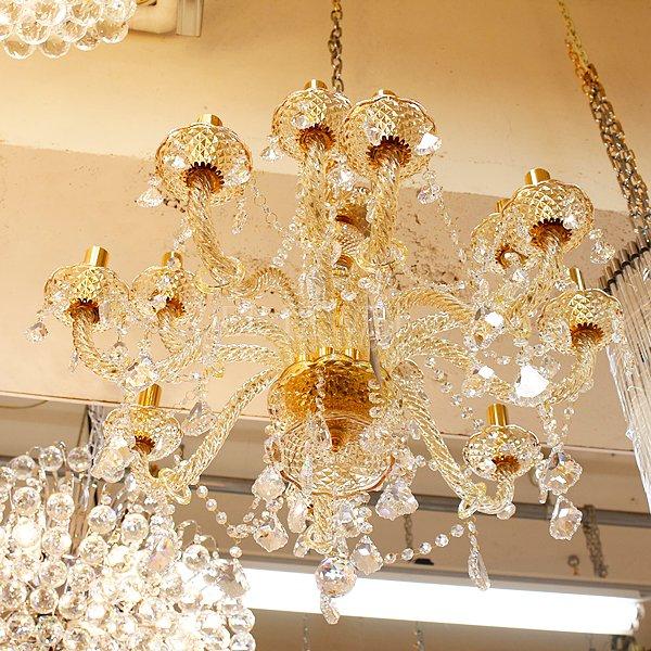 【1台在庫有!】【LA LUCE】クリスタルシャンデリア シャンパンゴールド 12灯(W700×H650mm)