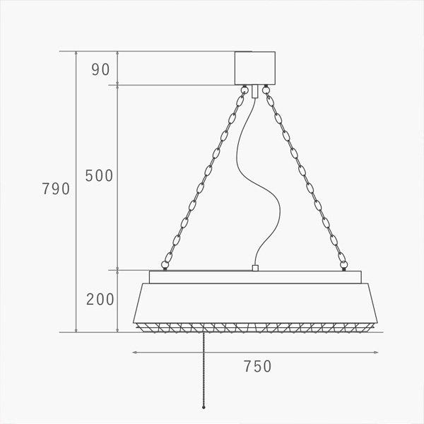 【HERMOSA】ペンダントライト「COMPTON LAMP」6灯・SV(W750×H200mm)