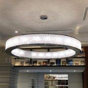 【在庫有!クローム】大型フープ型クリスタルシャンデリア24灯・クロームorゴールド(φ2400×H400mm)※特注製作可能