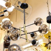 【1台在庫有!】ガラスボールシェードシャンデリア スモーキーグレイ 8灯(W760×H550・H750mm)