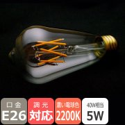 LEDフィラメント電球 高演色【プレミアム】エジソン球タイプ/5W・口金E26・2200K<img class='new_mark_img2' src='https://img.shop-pro.jp/img/new/icons1.gif' style='border:none;display:inline;margin:0px;padding:0px;width:auto;' />