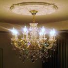<b>【LA LUCE】</b>クリスタルシャンデリア 8灯【ボヘミアA】ゴールドorクローム(W660×H550mm)