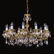 <B>【ART GLASS】</B>真鍮製チェコorスワロフスキークリスタルシャンデリア 10灯