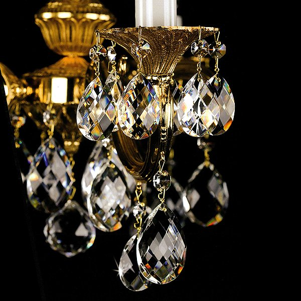 【ART GLASS】真鍮製クリスタルシャンデリア「ALICE」5灯(W670×H410mm)