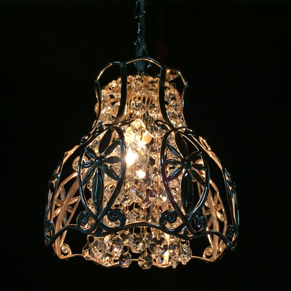 クリスタルミニシャンデリア1灯・ゴールド(φ180×H200mm)