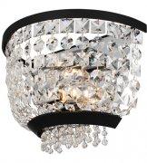 【ALLEGRI】クリスタルウォールライト「Terzo」2灯マットブラック、ポリッシュクローム(W270×H170×D150mm)