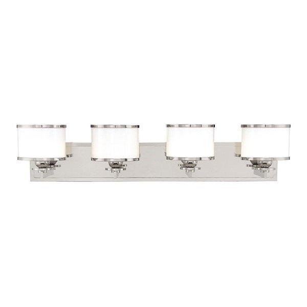【HUDSON VALLEY】デザイン照明ガラスシェードウォールライト「BASKING RIDGE」4灯・クローム色(W787.4×H165.1mm)