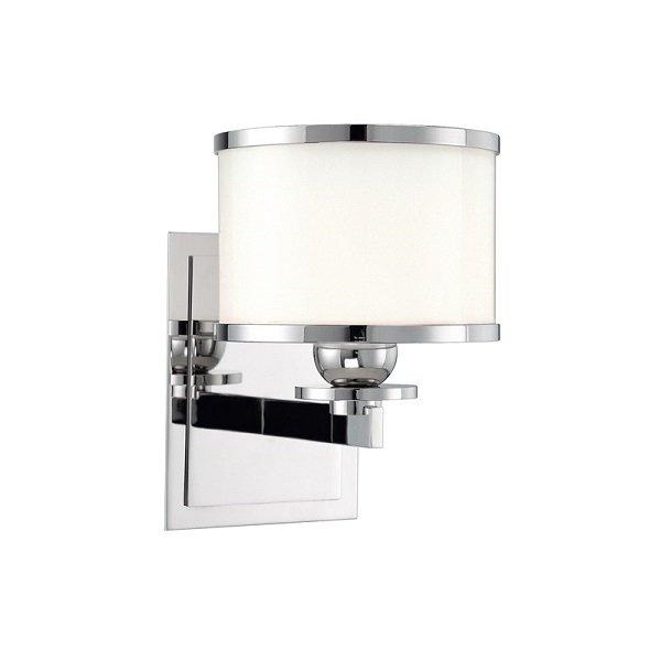 【HUDSON VALLEY】デザイン照明ガラスシェードウォールライト「BASKING RIDGE」1灯・クローム(W139.7×H196.8mm)