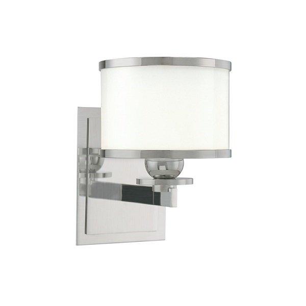 【HUDSON VALLEY】デザイン照明ガラスシェードウォールライト「BASKING RIDGE」1灯・クローム色(W139.7×H196.8mm)