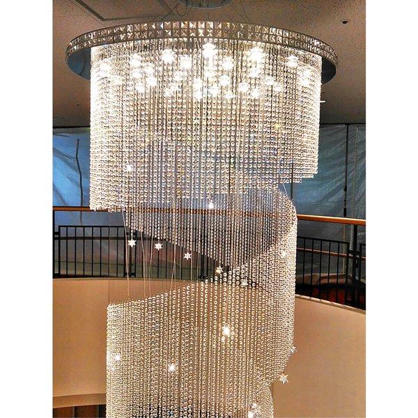 クリスタルスパイラルシャンデリア15灯 クローム (Φ1300×H4600mm )