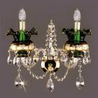 <B>【ART GLASS】</B>チェコorスワロフスキークリスタル カラーブラケット 2灯 GREEN