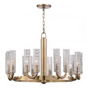 【HUDSON VALLEY】デザイン照明ガラスシェードシャンデリア「DARTMOUTH」16灯・ゴールド(W787.4×H527.0mm)