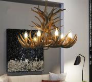 【鹿の角】 ホーンシャンデリア デザイン照明 ブラウン/ホワイト 9灯(Φ860×H420/580mm)