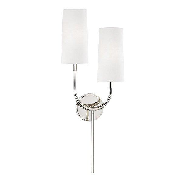 【HUDSON VALLEY】デザイン照明 リネンシェードウォールライト「VESPER」2灯(W254.0×D120.6×H679.4mm)
