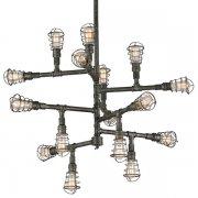 【TROY】インダストリアル照明 パイプ型シャンデリア「CONDUIT」16灯(W1066.8×H908.0mm)