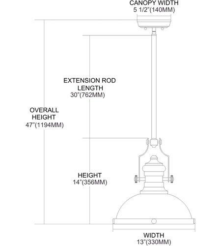 【ELK】ペンダントライト「Chadwick」1灯(W330×H356mm)