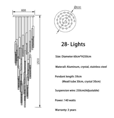 【dalas】デザイン照明 3/5/8/18/28/36/49灯 (W600〜1000mm)
