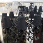 【LA LUCE】</B>ブラックシェードシャンデリア 8灯(W660×H670mm)