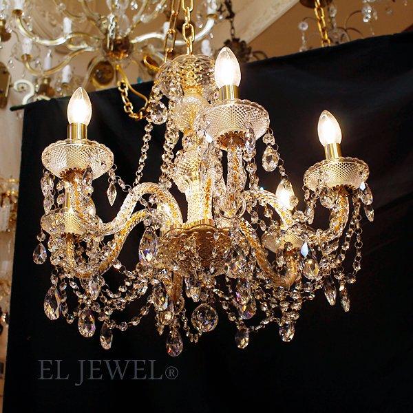 【LA LUCE】クリスタルシャンデリア 6灯 ゴールドorクローム(W550×H500mm)