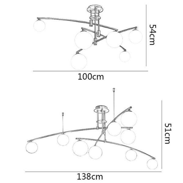 デザイン照明ガラスシェードシャンデリア ゴールド/ブラック 6 /9灯(W1000mm/W1380mm)