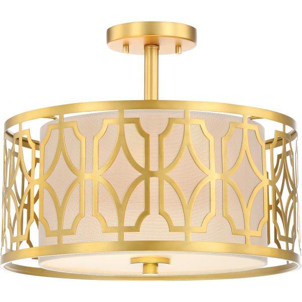 【NUVO】デザイン照明 リネンシーリングライト「FILIGREE」2灯(W380×H320mm)