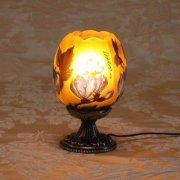 【galle】ガレ・コレクション- テーブルスタンドランプ 1灯 「マグノリア」アンティークブロンズ/ダークブロンズ(Φ100×H170mm)