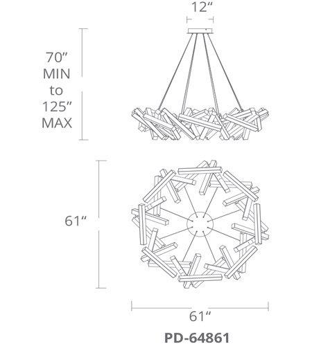 【Modern Forms】デザイン照明「Chaos」LED  つや消しアルミニウム(W1550×D1550×H380mm)