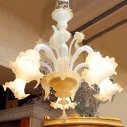 【1台在庫有!】【VENICE ARTE】イタリアMURANO製ヴェネチアンシャンデリア 5灯(φ700×H750mm)