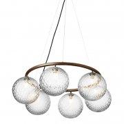 【Nuura】「Miira 6 Circular pendant, dark bronze - clear」デザイン照明ペンダントライト 6灯 ブロンズ-クリア(Φ800×H200mm)