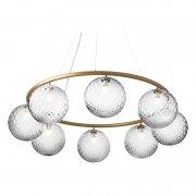 【Nuura】「Miira 8 Circular pendant, brass - clear」デザイン照明ペンダントライト8灯 ブラス-クリア(Φ1000×H200mm)