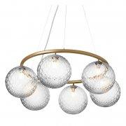 【Nuura】「Miira 6 Circular pendant, brass - clear」デザイン照明ペンダントライト6灯 ブラス-クリア(Φ800×H200mm)
