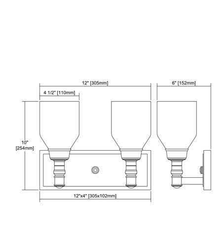 【ELK】ウォールライト「Baxter」2灯(L152×W305×H254mm)