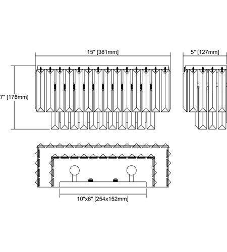 【ELK】クリスタル・ウォールライト「Palacial」2灯(L127×W381×H178mm)