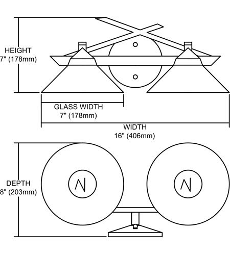 【ELK】ウォールライト「Refraction」2灯(L203×W406×H178mm)