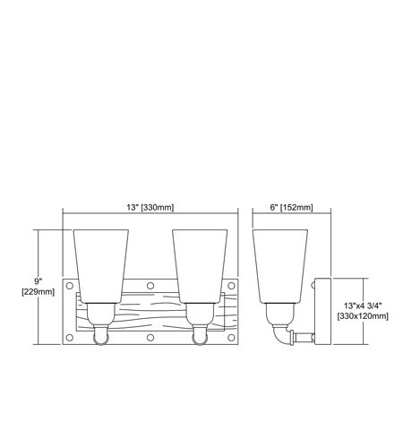 【ELK】ウォールライト「Platform」2灯(L152×W330×H229mm)