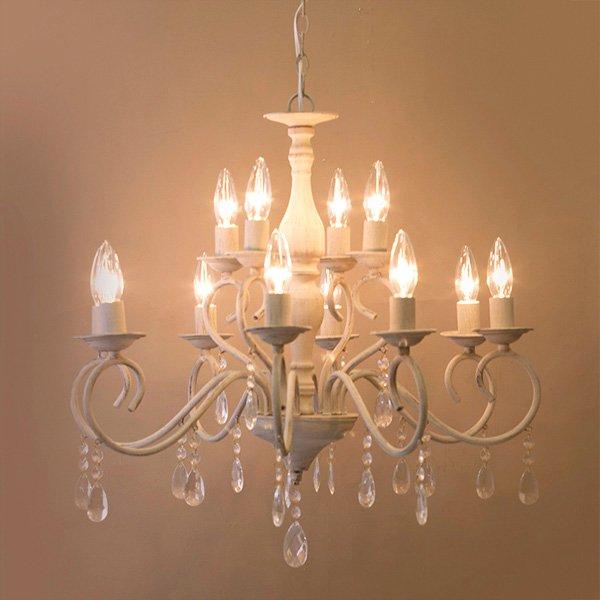 シャンデリア「Bianca ビアンカ」12灯アンティーク サンド グレイ(φ620×H600mm)