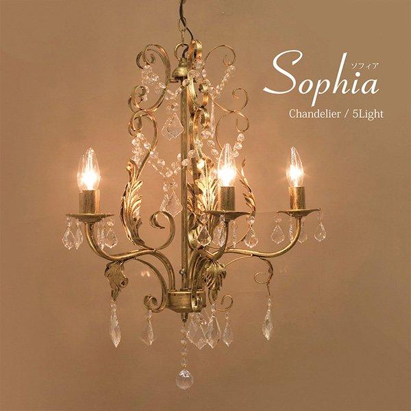 【入荷未定】シャンデリア「Sophia ソフィア」5灯ダークゴールド(φ500×H640mm)