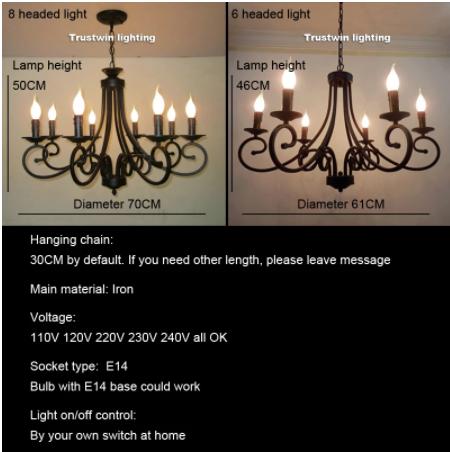【Trustwin】デザイン照明 アイアンシャンデリア 6/8灯 ブラック(Φ610×H460/Φ700×H500mm)