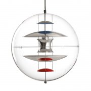 【Verpan】「VP Globe pendant 40 cm」デザイン照明 ブルー-レッド-クリア(Φ400×H400mm)