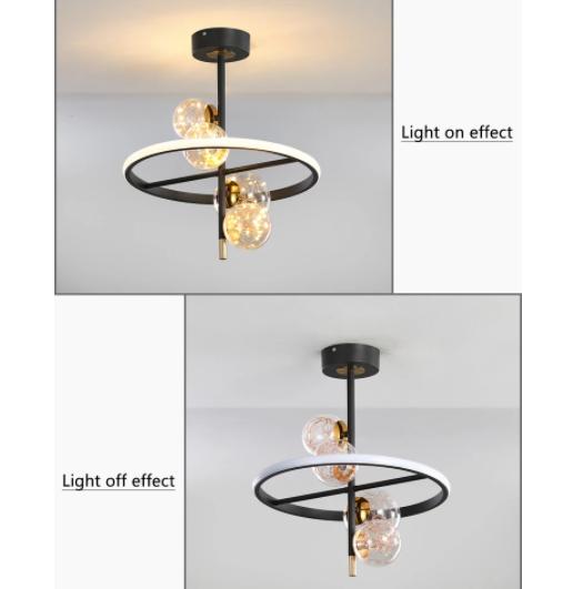 【LIANGJU】ガラスボールデザイン照明 4灯 (Φ400/Φ500mm)