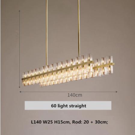 【E-Light】ストレートガラスシェード デザイン照明 10〜60灯 (W700〜W1400mm)
