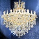 【LA LUCE】大型チェコorスワロフスキークリスタルシャンデリア 31灯 ゴールド(W1090×H1120mm)